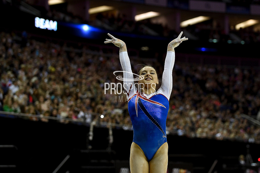 Amy Tinkler of Great Britain (GBR) after performing on the beam on her way to winning the women's bronze during the iPro Sport World Cup of Gymnastics 2017 at the O2 Arena, London, United Kingdom on 8 April 2017. Photo by Martin Cole.