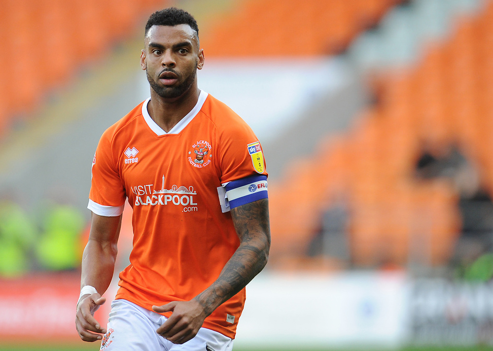 Blackpool's Curtis Tilt<br /> <br /> Photographer Kevin Barnes/CameraSport<br /> <br /> The EFL Sky Bet League One - Blackpool v Rotherham United - Saturday 12th October 2019 - Bloomfield Road - Blackpool<br /> <br /> World Copyright © 2019 CameraSport. All rights reserved. 43 Linden Ave. Countesthorpe. Leicester. England. LE8 5PG - Tel: +44 (0) 116 277 4147 - admin@camerasport.com - www.camerasport.com