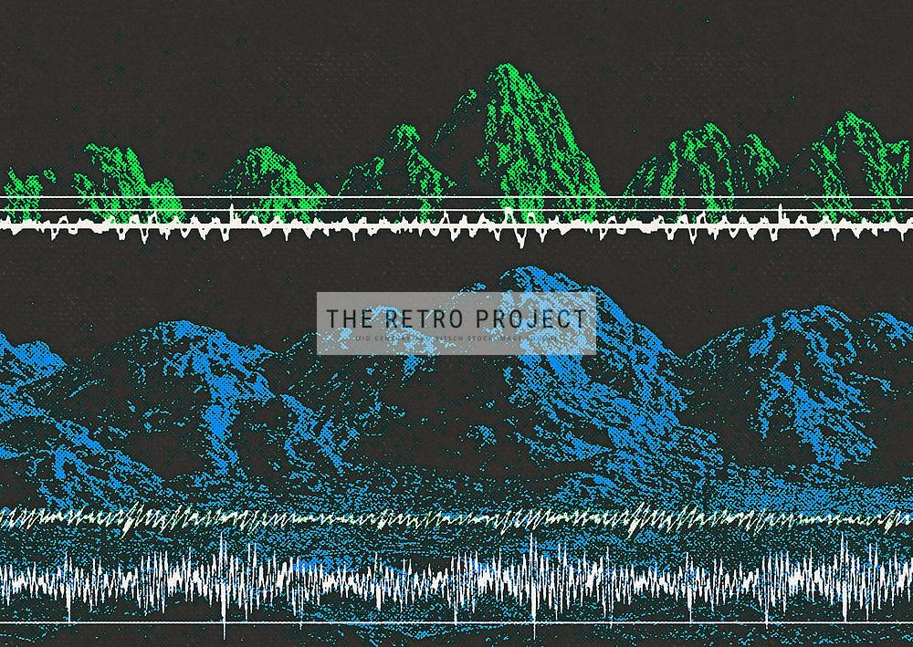 Science Fiction lunar landscape illustration with sound waves