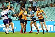 Waratahs celebrate the James Ramm try. NSW Waratahs v ACT Brumbies. 2021 Super Rugby AU Round 7 Match. Played at Sydney Cricket Ground on Friday 2 April 2021. Photo Clay Cross / photosport.nz
