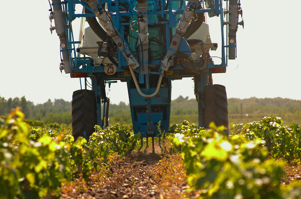 A vineyard tractor equipped with claws to work the soil and remove weed - Chateau Belgrave, Haut-Medoc, Grand Crus Classe 1855