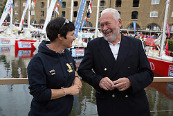 © Licensed to London News Pictures. 01/09/2013. London, UK. Dame Ellen MacArthur chats to Sir Robin-Knox Johnston at St Katharine Docks ahead of the official start. The Clipper 2013-14 Round the World Yacht Race departs from St Katharine Docks on the River Thames.  Photo credit : Vickie Flores/LNPPhoto credit : Vickie Flores/LNP