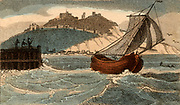 Packet boat leaving Dover, Kent, England, for France. Packet boats carried the mail. From 'Scenes in England' by the Rev. Isaac Taylor, London, 1822. Hand-coloured engraving.