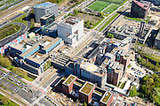 Nederland, Noord-Holland, Amsterdam, 09-04-2014; Zuid-as, overzicht campus van de Vrije Universiteit VU. Met VUmc Cancer Center en ACTA (tandheelkunde), Academisch Ziekenhuis Vrije Universiteit VUmc. <br /> Zuid-as, 'South axis', financial center in the South of Amsterdam, with University Hospital VUmc (Vrije Universiteit) and VU MC Cancer Center.<br /> Amsterdam equivalent of 'the City', financial district. <br /> luchtfoto (toeslag op standard tarieven);<br /> aerial photo (additional fee required);<br /> copyright foto/photo Siebe Swart