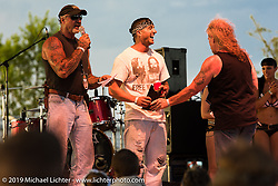 """The Horse Magazine publisher Ralph """"Hammer"""" Janus  on stage Satureday afternoon at the Smokeout. Rockingham, NC. USA. June 20, 2015.  Photography ©2015 Michael Lichter."""