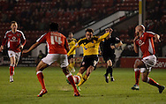 Jose Baxter shooting to score first goal during the Sky Bet League 1 match between Walsall and Sheffield Utd at the Banks's Stadium, Walsall, England on 17 March 2015. Photo by Alan Franklin.