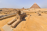 Aerial view of the Great Sphinx of Giza in Egypt
