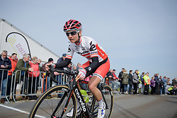 Christina Perchtold reaches the top of VAMberg at Ronde van Drenthe 2017. A 152 km road race on March 11th 2017, starting and finishing in Hoogeveen, Netherlands. (Photo by Sean Robinson/Velofocus)
