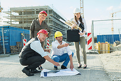 Architect discussing with customers