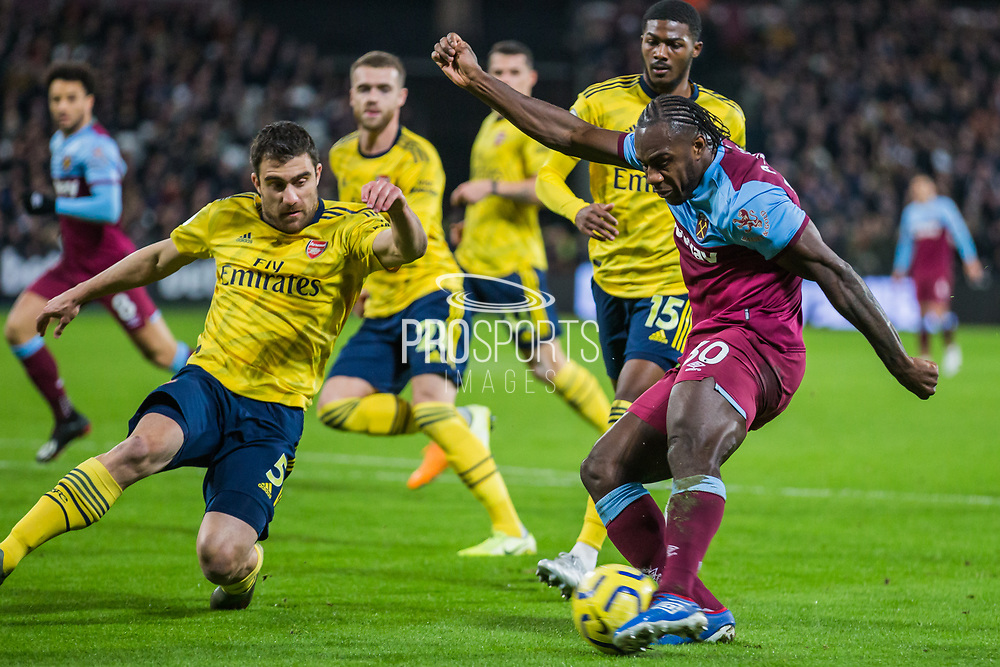 Michail Antonio (West Ham) attempt at goal during the Premier League match between West Ham United and Arsenal at the London Stadium, London, England on 9 December 2019.