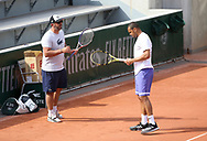 Jo-Wilfried Tsonga of France and his coach Thierry Ascione during practice ahead of the French Open 2021, a Grand Slam tennis tournament at Roland-Garros stadium on May 29, 2021 in Paris, France - Photo Jean Catuffe / ProSportsImages / DPPI