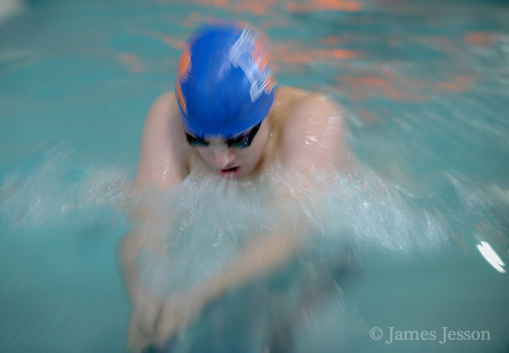Newton South High School freshman Jack Sinclair competes in the 200 yard IM during the DCL meet at Atkinson Pool in Sudbury, Jan. 31, 2015.   (Wicked Local Photo/James Jesson)
