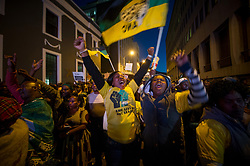 Aug. 8, 2017 - Cape Town, South Africa - Supporters of South Africa's ruling African National Congress (ANC) gather in Cape Town. South African President Jacob Zuma on Tuesday survived a no confidence motion by secret ballot. Parliament Speaker Baleka Mbete announced that 198 Members of Parliament voted against the motion, while 177 voted in favor and nine abstained.(Credit Image: © Jaco Marais/Xinhua via ZUMA Wire)