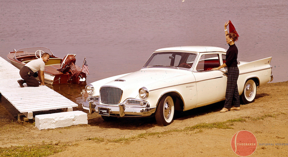 A 1960 Studebaker Hawk is shown in a Studebaker factory publicity image.