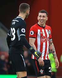 Southampton goalkeeper Angus Gunn (left) and Pierre-Emile Hojberg celebrate after the final whistle