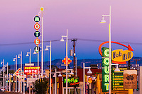 Central Avenue (Historic Route 66) in the Nob Hill section of Albuquerque, New Mexico USA.