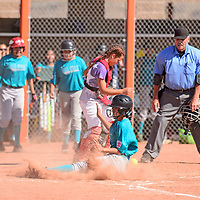 Bray Holyan scores by sliding into home for Turquoise Nation in the first round of the Little League State Softball Tournament at Gallup High School, Friday July 6.