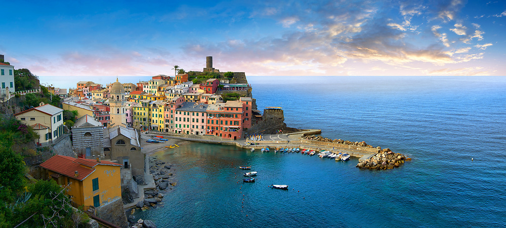 Harbour of the fishing port of Vernazza at sunrise, Cinque Terre National Park, Ligurian Riviera, Italy. A UNESCO World Heritage Site .<br /> <br /> Visit our ITALY HISTORIC PLACES PHOTO COLLECTION for more   photos of Italy to download or buy as prints https://funkystock.photoshelter.com/gallery-collection/2b-Pictures-Images-of-Italy-Photos-of-Italian-Historic-Landmark-Sites/C0000qxA2zGFjd_k