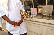 Trumpet player Sean Roberts (20) pauses for a portrait in the French Quarter of New Orleans, LA on Wednesday, June 28, 2006. Hurricane Katrina struck the Gulf Coast ten months ago, devastating parts of Louisiana and adjoining states Mississippi and Alabama.