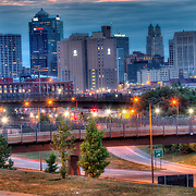 Skyline of downtown Kansas City, Missouri at dusk from 25th and Paseo.