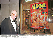John Mortimer leaving a party given by Jean Paul Getty. Cafe de Paris, Leicester Sq. London.6/3/97. Film 97130f2<br />© Copyright Photograph by Dafydd Jones<br />66 Stockwell Park Rd. London SW9 0DA Tel 0171 733 0108