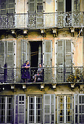 Two women on a balcony , Corfu Island, Greek Islands