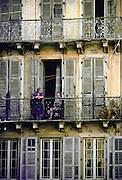 Two women on a balcony , Corfu Island, Greek Islands