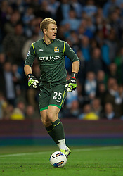 MANCHESTER, ENGLAND - Monday, April 30, 2012: Manchester City's goalkeeper Joe Hart in action against Manchester United during the Premiership match at the City of Manchester Stadium. (Pic by David Rawcliffe/Propaganda)