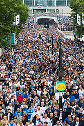 London, August 20 2017. Thousands of fans stream from the stadium towards Wembley Park tube station following Chelsea's 2-1 victory when Tottenham Hotspur hosted their first game of the Premier League season at their temporary home ground, Wembley Stadium. © Paul Davey.