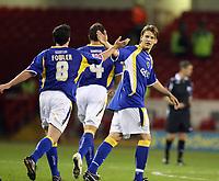 Photo: Paul Greenwood.<br />Sheffield United v Cardiff City. Coca Cola Championship. 02/10/2007.<br /> Cardiff's Robbie Fowler, (L) celebrates his goal with Gavin  Rae