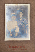 deteriorating studio portait of two Asian boys Japan ca 1930s