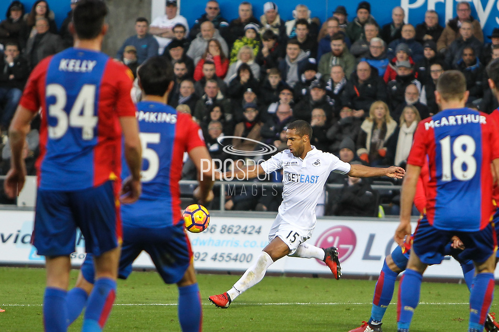 Wayne Routledge of Swansea City during the Premier League match between Swansea City and Crystal Palace at the Liberty Stadium, Swansea, Wales on 26 November 2016. Photo by Andrew Lewis.
