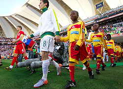Steven Gerrard of England and Robert Koren of Slovenia at kick-off ceremony during the 2010 FIFA World Cup South Africa Group C Third Round match between Slovenia and England on June 23, 2010 at Nelson Mandela Bay Stadium, Port Elizabeth, South Africa.  (Photo by Vid Ponikvar / Sportida)