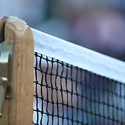 LONDON, ENGLAND - JULY 14: The Net and net post on Center Court during the Wimbledon Lawn Tennis Championships at the All England Lawn Tennis and Croquet Club at Wimbledon on July 14, 2017 in London, England. (Photo by Tim Clayton/Corbis via Getty Images)