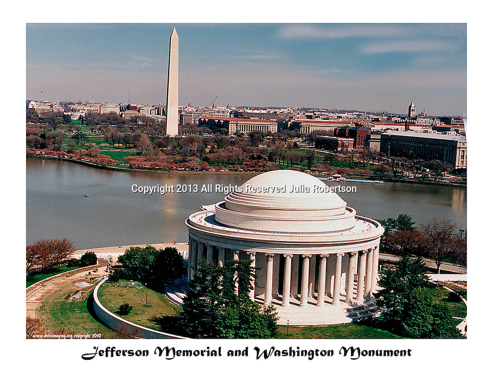 aerial view of Jefferson Memorial and WashingtonMonument