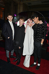 Jack Patterson, Luke Patterson, Grace Chatto and Milan Neil Amin-Smith of Clean Bandit at the Warner Music Brit Party held at the Freemason's Hall, 60 Great Queen Street, London on 25th February 2015.