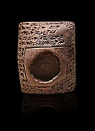 Toprak Bagis Belgesi  cuneiform donation document. Hittite Period 1600 - 1450 BC.  Hattusa Boğazkale. Çorum Archaeological Museum, Corum, Turkey. Against a black bacground. .<br />  <br /> If you prefer to buy from our ALAMY STOCK LIBRARY page at https://www.alamy.com/portfolio/paul-williams-funkystock/hittite-art-antiquities.html  - Type Cuneiform  into the LOWER SEARCH WITHIN GALLERY box. Refine search by adding background colour, place,etc<br /> <br /> Visit our HITTITE PHOTO COLLECTIONS for more photos to download or buy as wall art prints https://funkystock.photoshelter.com/gallery-collection/The-Hittites-Art-Artefacts-Antiquities-Historic-Sites-Pictures-Images-of/C0000NUBSMhSc3Oo