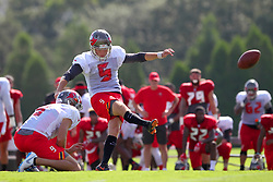 July 28, 2018 - Tampa, FL, U.S. - TAMPA, FL - JULY 28: Trevor Moore (5) kicks from the hold of Bryan Anger (9) during the Tampa Bay Buccaneers Training Camp on July 28, 2018 at One Buccaneer Place in Tampa, Florida. (Photo by Cliff Welch/Icon Sportswire) (Credit Image: © Cliff Welch/Icon SMI via ZUMA Press)