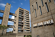 Balfron Tower, with adjacent building Carradale House, on 27th April 2016 in London, United Kingdom. The architecturally important Balfron Tower is a 26-storey residential building in Poplar, a district of the London Borough of Tower Hamlets in the East End of London. It was designed by Ernő Goldfinger and built in a brutalist style for the London Country Council. It and opened in 1967. The tower forms part of the Brownfield Estate. It has been a Grade II listed building since 1996. Balfron Tower is stylistically similar to Goldfingers later Trellick Tower in West London. Recently, residents and campaigners are battling to prevent a regeneration of the celebrated tower.