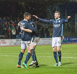 Dundee's Luka Tankulic celebrates after scoring their fourth goal. <br /> Dundee 4 v 1 Motherwell, SPFL Premiership played 10/1/2015 at Dundee's home ground Dens Park.