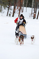 Photo Randy Vanderveen.Grande Prairie , Alberta.13-01-05.Michael Badine urges his dogs through the race course as he takes part in the Four Dog Four Mile Open event. The Grande Prairie Sled Dog Derby ran two days of races at Evergreen Park this past weekend, Jan. 5 and 6.