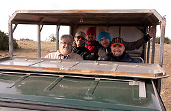 Journalists Branko Vekic, Joze Okorn, Rok Plestenjak, Tine Zupan and Jernej Suhadolnik in Schotia Safaris on June 24, 2010  in the Eastern Cape reserve, Addo area, near Port Elizabeth,  South Africa. (Photo by Vid Ponikvar / Sportida)