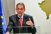 EU foreign policy chief Javier Solana attends a press conference in Pristina, Kosovo, 14 July 2009. EU foreign policy chief Javier Solana is on one-day visit in Kosovo. (Photo/ Vudi Xhymshiti)
