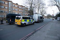 © Licensed to London News Pictures. 09/03/2021. London, UK. Metropolitan Police have closed off Poynders Road in what is believed to be connected to the search for missing person Sarah Everard. Photo credit: Peter Manning/LNP