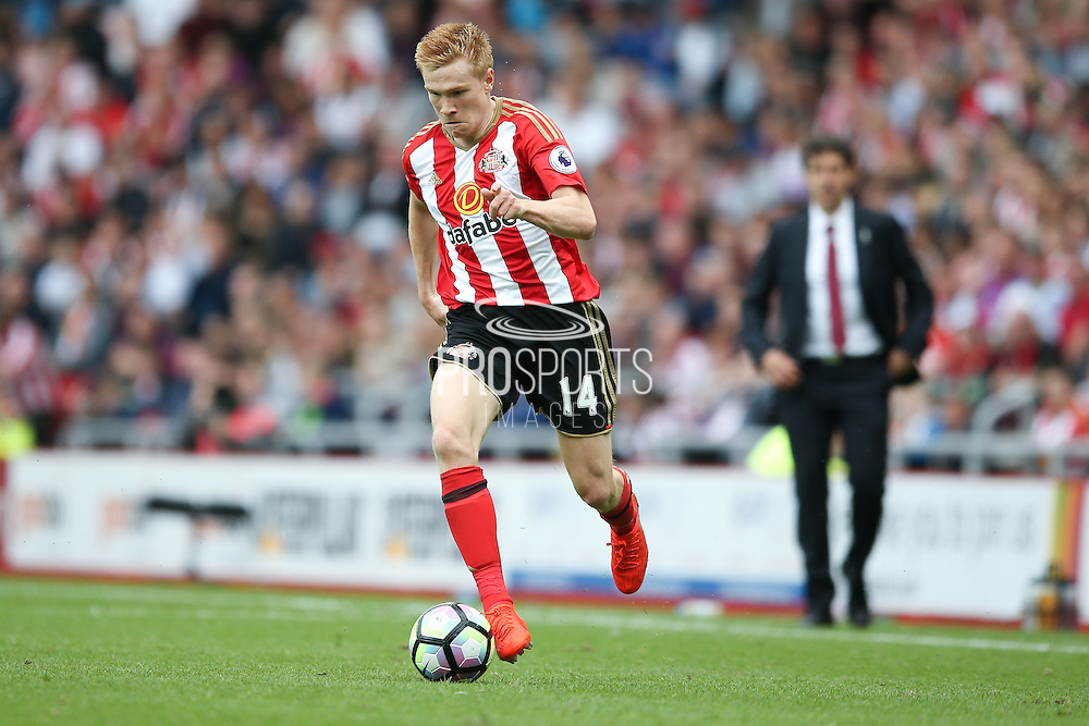 Sunderland forward Duncan Watmore (14)  during the Premier League match between Sunderland and Middlesbrough at the Stadium Of Light, Sunderland, England on 21 August 2016. Photo by Simon Davies.