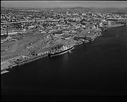 "Ackroyd 11875-1. ""Albina - Luckenbach docks. aerial. August 15, 1963"" (Willamette River north of Broadway bridge.)"