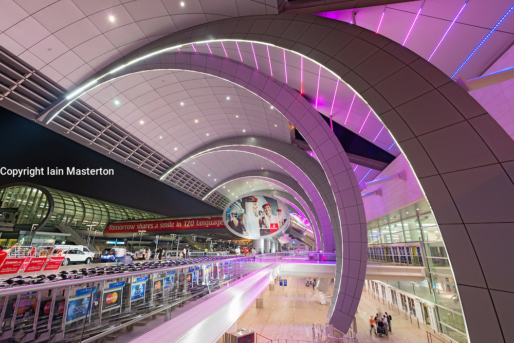 Modern architecture at Terminal 3 at Dubai International Airport United Arab Emirates