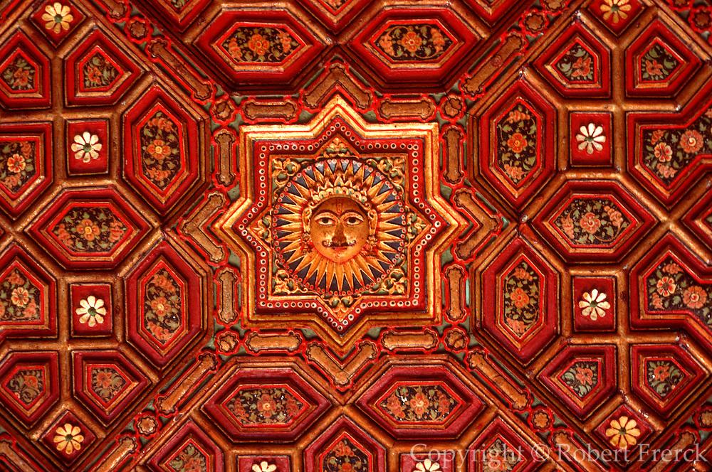 INDIA, RAJASTHAN an ornate painted ceiling in Junagarh Fort in Bikaner