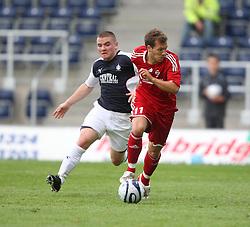 Alex MacDonald & Franz Burhmeier.<br /> Falkirk v FC Vaduz, Europa League Qualifying.<br /> ©2009 Michael Schofield. All Rights Reserved.