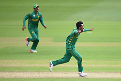 Pakistans' Mohammad Amir celebrates taking the wicket of Sri Lanka's Angelo Mathews during the ICC Champions Trophy, Group B match at Cardiff Wales Stadium.
